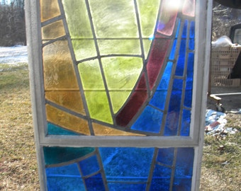 cool big 1960s vintage retro eames era abstract mid century colorful STAINED GLASS WINDOW   pick up only