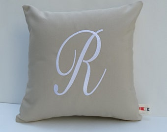 MONOGRAMMED PILLOW COVER Sunbrella indoor outdoor embroidered monogram letter initial wedding gift anniversary dorm pillows oba canvas co.