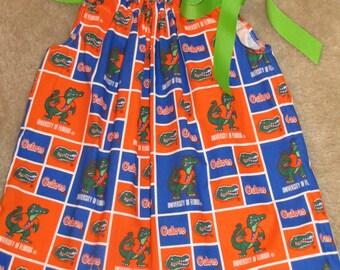 Custom handmade florida football gator alligator pillowcase dress hairbow 3mos up to 6y fast shipping