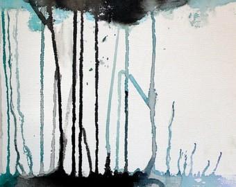 """Tall trees ink art - """"The wind blows"""" - 5x7 art print"""