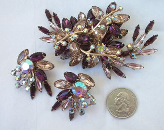 Vintage Brooch & Earrings Set ~ Massive Sized ~ Purple ~ Pinks ~ Over the Top STATEMENT Costume Jewelry