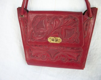 Tooled Leather Purse ~ Rich RED Wine ~ Vintage ~ Embossed ~ Double Strap Handle