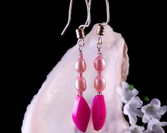 Pink Earrings - Mother of Pearl Shell Earrings - Pink Glass Beads Earrings - Dangling Earrings - Handmade Costume Jewelry - Free Shipping