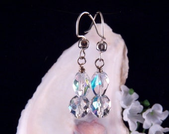 Shimmering Earrings - Sparkly Earrings - Shining Dangling Drop Earrings - Handmade Costume Jewelry - Made in Montana - Free Shipping to USA