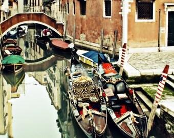 Italy Art, Venice Print, Venetian, Italian Home Decor, Italy, Gondola, Europe,Grand Canal, Water,Tuscan,Tuscany, Wine Country,Earthy,Bridge