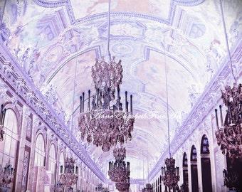 Chandelier Art , Fine Art Photograph, Versailles, Marie Antoinette,Paris, Romantic,Rococo, Baroque, Nursery,Elegant,Dorm, Pink, Lavender