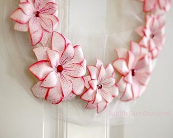 Holiday Decor Poinsettia Wreath Peppermint Pink Paper Flower Wreath 12 inch