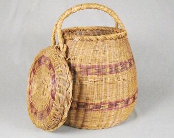 Large Vintage Columbian Basket, unique attached lid, Native American