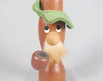 Hans Bolling era, Teak pipe smoking, figurine, candle holder