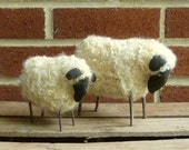 set of 2 Primitive Folk Art Sheep ornie dolls - Momma & baby lamb w/real wool