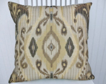 Grey IKAT Pillow Cover -- NEW!! Ikat Suzani  Yellow Grey Brown 18x18 or 20x20 or 22x22 or Custom Sizes