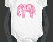 Elephant Indian design 1 - graphic printed on Infant Baby One-piece, Infant Tee, Toddler T-Shirts - Many sizes
