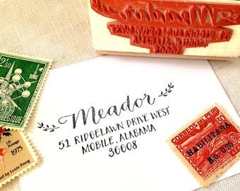 CALLIGRAPHY ADDRESS STAMP - Last Name & Return Address - Script, Block Caps - Custom, Wedding Envelopes - Wooden Handle