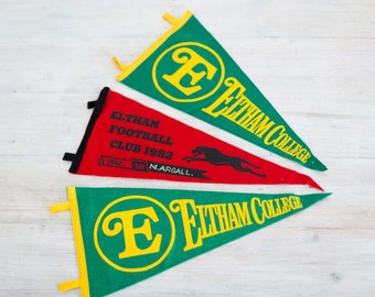 vintage felt eltham football club 1982 + eltham college pennant flags