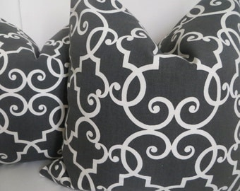 Dark Gray And White Pillow Cover, Gray And White Pillows, Gray Pillow, White Pillow, Fretwork Pillow,Cushion Cover, Home Decor