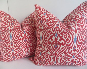 Red Blue Pillow Cover, Damsk pillow Cover, Red Pillow Cover, Decorative Pillow Cover