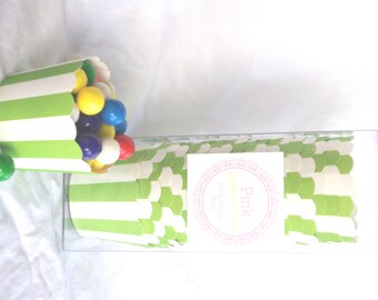 Small Green Striped-Boxed-Nut/Candy/Baking Cups-20ct--Parties--cupcakes-gumballs-snacks