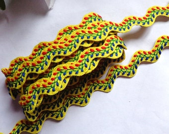 Embroidered Yellow Rick Rack w Red Royal Green 5/8 Inch selling by the yard