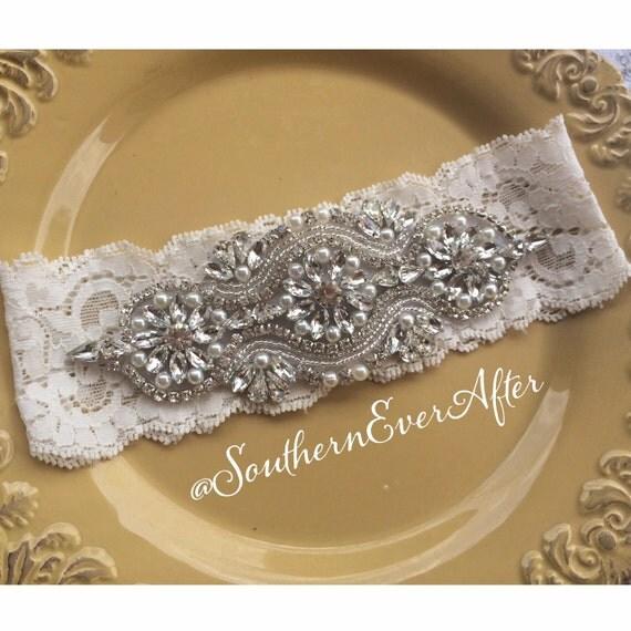 Vintage Inspired Pearl Rhinestone Keepsake Garter / Wedding Garter / Rhinestone garter / Shabby Chic