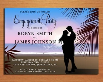 Tropical Beach Engagement Party Customized Printable Invitations /  DIY