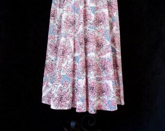 1950s Skirt // Leafy Vine Flowing A Line Botanical Skirt