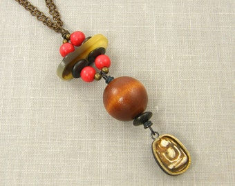 Buddha Pendant Necklace, Red Bead Necklace, Wood Bead Necklace, Chunky Bead Necklace, Rustic Tribal Red Brown Tan Bead and Chain Necklace