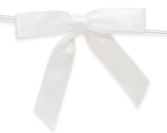 """12 Small WHITE Satin Bows - 2"""" wide - Ready for use"""