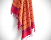 Bade Pestemal Towel. Bath & Beach Towel. Orange - Red striped Turkish Towel, Fouta, Peshtemal, Gift