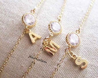 Gold Personalized Necklace Friendship Gift Cubic Zirconia Crystal Letter Initial Jewelry Wedding Bridesmaids Necklace Modern Jewellery C1