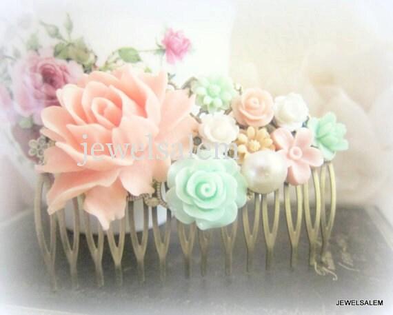 Rosa Mint Grün Haare kämmen Pastell-Farben Hochzeit Haarschmuck ...