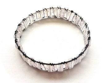 Clear Quartz Bracelet - Bangle - Handmade Jewelry