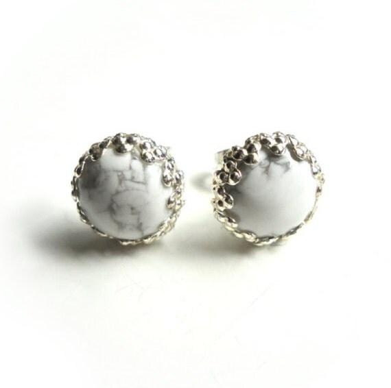White Grey Studs - Natural White Howlite Stone Studs with Silver Trim - 12mm - Handmade Jewelry