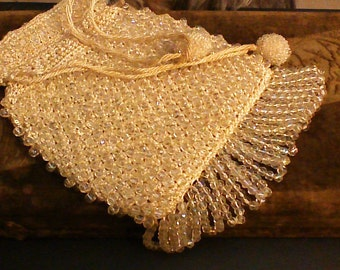 Vintage Aura Borelis Beaded Fringe Purse Perfect condition from Roaring 1920s