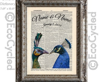 Peacocks In Love 2 with Names and Date on Vintage Upcycled Dictionary Art Print Book Art Print Wedding Anniversary Recycled Customized