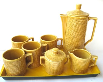 Mod tea set burlap pattern yellow ochre coffee service