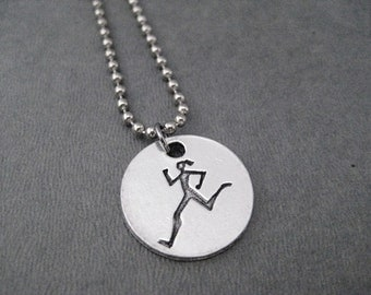 RUNNER GIRL Round Pendant Necklace - Pewter Charm on Stainless Steel Ball Chain - The Run Home's Running Girl Charm only at The Run Home