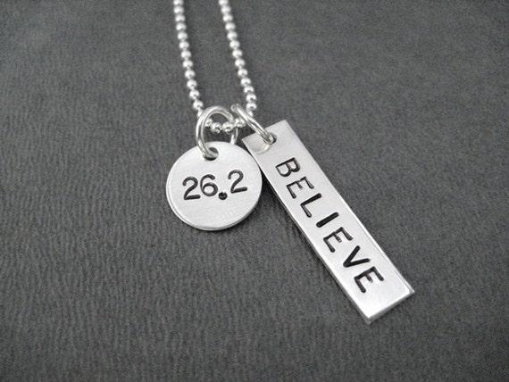 26.2 BELIEVE Sterling Silver Necklace - 16, 18 or 20 inch Sterling Silver Ball Chain - Marathon Training - Believe in 26.2 - First Marathon