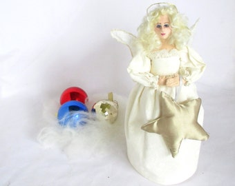 Angel Christmas Tree Tropper art cloth doll Christmas tree ornament gold star