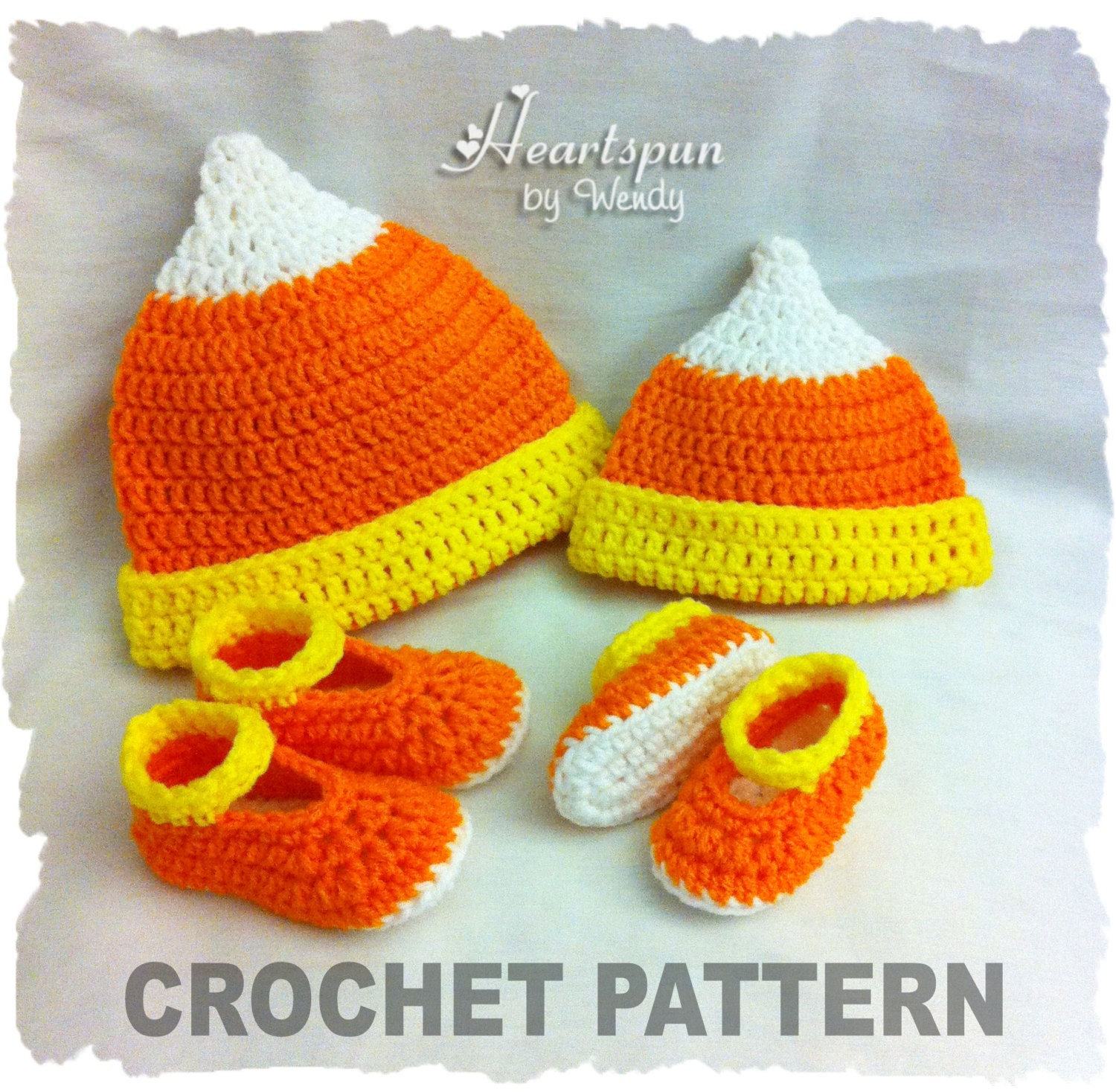 Crochet Pattern To Make This Candy Corn Baby Hat And Shoe Set