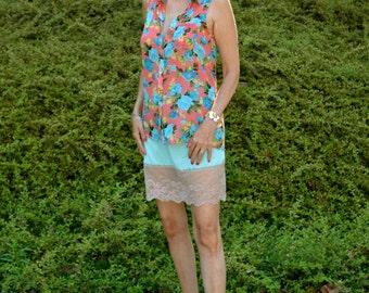 Boho Aqua Lacy Half Slip Mini Skirt Vintage Lingerie Size Small - VL242