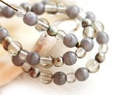 Grey beads Mix, picasso Czech glass round spacers, druk, small - 4-3mm - approx.120Pc - 0137