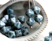 Montana Blue picasso bicones, Czech Glass beads, rustic bicone beads, pressed glass - 6mm - 30Pc - 2530