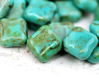 Turquoise green beads, Large square, Picasso finish, Rustic czech glass, heavy, thick - 18mm - 2Pc - 1053