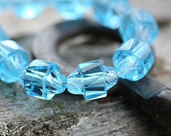 Aqua blue glass beads, Czech beads, oval, cathedral - 6x8mm - 15Pc - 0168