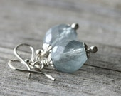 Blue Silver Earrings: Frosted Czech Glass Beads with Sterling Silver