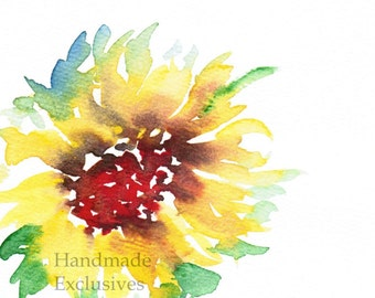 Handpainted Note Card Greeting Card Valentine Any occasion Sunflowers Floral Original Watercolor Gardening home decor