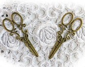 Reneabouquets Set Of 2 Shabby Sweet Metal Scissors Tarnished Gold~Scrapbook Embellishment, Craft Supply, Jewelry Charm