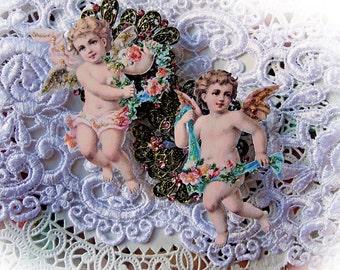 Reneabouquets Vintage Cherub Scrapbook Embellishment, Die Cut  Choose Your Size