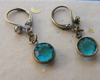 Crystal Earrings! 8 mm., Blue, or, Green, Swarovski Crystal, Small Dangle Earrings! OOAK! Bridal Earrings, Birthday Gifts, Holiday Gifts