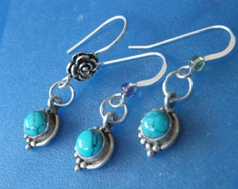 Turquoise Earrings! Turquoise Cabochons, Sterling Silver, Dangle Earrings! December Birthstone, Birthday Gifts, Holiday Gifts
